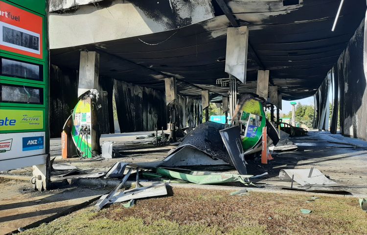 Daylight reveals devastation caused by fire at Bay View service station