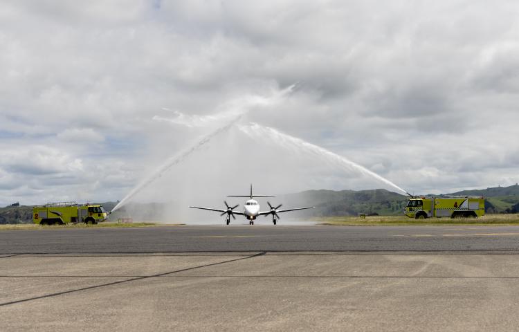 First Originair flight lands in Napier with much fanfare