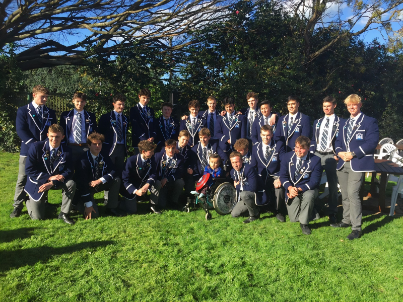 Napier Boys' High School students perform haka for brave young boy