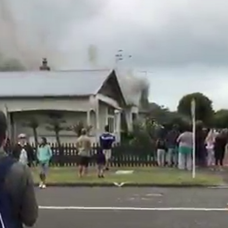 Napier house fire stops cricket match at McLean Park