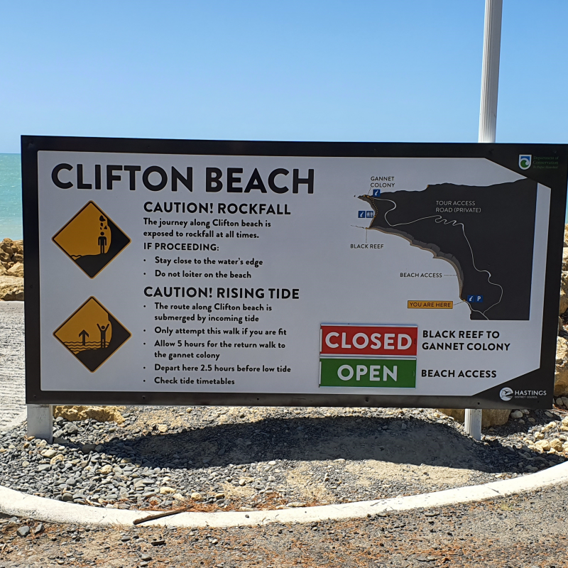 New signage at Clifton Beach as Cape Kidnappers risk assessment work continues