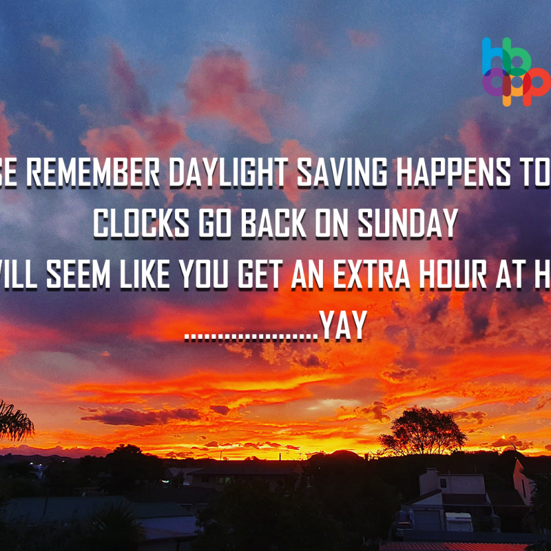 Put your clocks back one hour tonight for daylight saving