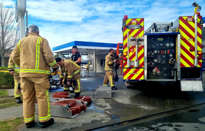 Quick response prevents further damage to fire-gutted service station workshop, FENZ says