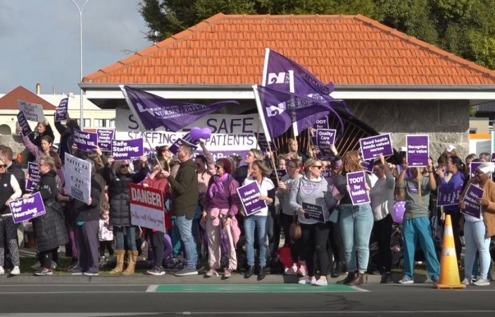 VIDEO: Bay nurses come out in force for better pay and safer working conditions
