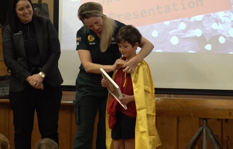 """Video: """"He's my little hero"""": Eight-year-old awarded for helping nana after traumatic injury."""