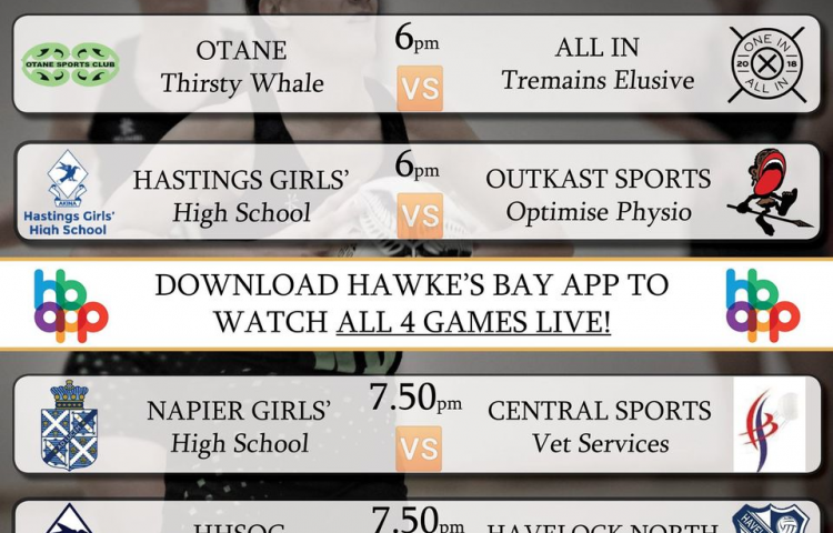 Watch Live: Napier Girls High School: Senior A vs Central Sports Netball Club: Vet Services Live on the Hawke's Bay App from 7:50pm